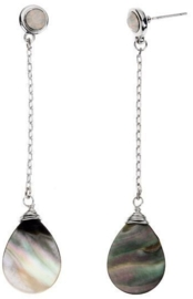 Parelmoeren oorbellen Long Dangling Blacklip Teardrop