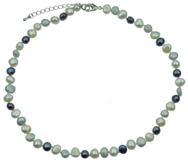 Zoetwater parelketting Grey Black White Pearl