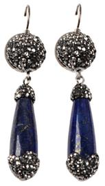 Edelstenen oorbellen Bright Lapis Lazuli Long Drop