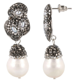 Zoetwater parel oorbellen Double Bling Pearl Big Nuts