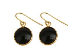 Edelstenen oorbellen Black Agate Gold Round