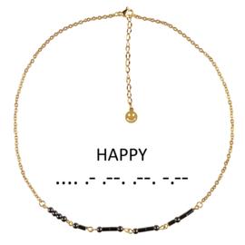 Cadeau set edelstenen ketting Morse Code Happy Black Hematite Gold