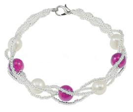 Zoetwater parel en edelstenen armband Twine Pearl Purple Jade