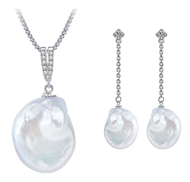 Zoetwater parel set Bling Dangling Coin Pearl