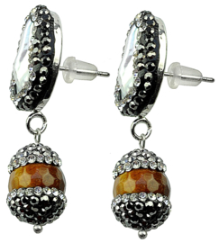 Zoetwater parel oorbellen met edelsteen Bright Pearl Long Tiger Eye