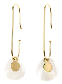 Parelmoeren oorbellen Gold Paperclip White Shell