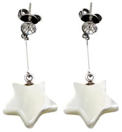 Parelmoeren oorbellen Dangling Bling Star