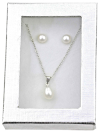 Cadeau set zoetwater parel ketting en oorbellen Single Pearl W