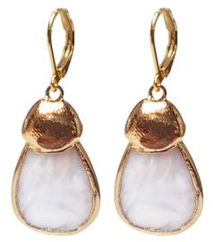 Parelmoeren oorbellen Gold Shell
