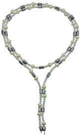 Zoetwaterparel en edelstenen ketting Pearl Clear Crystal Magnetite Wrap