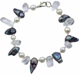 Zoetwater parel en edelstenen armband Cristal Blue