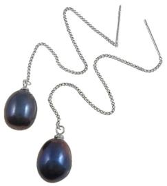 Zoetwater parel oorbellen Pearl Chain Black