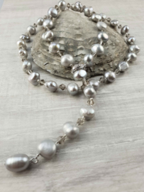 Zoetwater parelketting Adjustable Pearl Grey