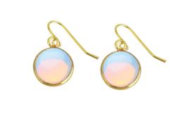 Edelstenen oorbellen Sea Opal Gold Round
