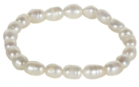 Zoetwater parel armband Bella White