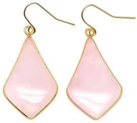 Edelstenen oorbellen Rose Quartz Gold Flyer