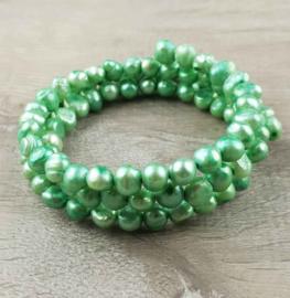 Zoetwater parel wikkelarmband Zen Green