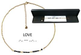 Cadeau set Edelstenen ketting Morse Code Love Black Hematite Gold