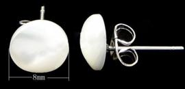 Parelmoeren oorbellen Little White Shell Round