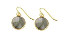 Edelstenen oorbellen Labradorite Gold Round