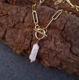 Zoetwater parelketting Biwa Pearl Gold Paperclip