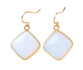 Edelstenen oorbellen Sea Opal Gold Square