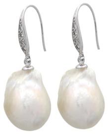 Zoetwater parel oorbellen Silver Bling Fireball Pearl
