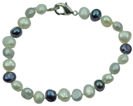 Zoetwater parel armband Grey Black White Pearl