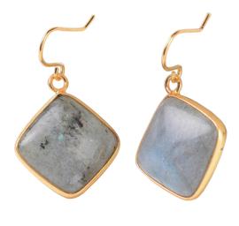 Edelstenen oorbellen Labradorite Gold Square