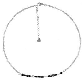 Cadeau set edelstenen ketting Morse Code Love Black Hematite Silver