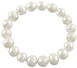 Zoetwater parel armband Big Pearl White
