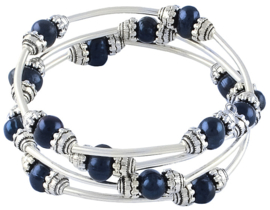 Zoetwater parel armband Three Loops Dark Blue Pearl