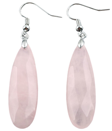 Edelstenen oorbellen Big Long Drop Rose Quartz