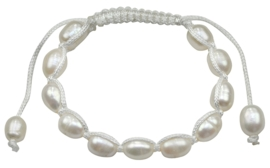 Zoetwater parel armband White Pearl Cord