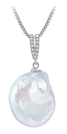 Zoetwater parelketting Bling Dangling Coin Pearl