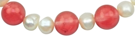 Zoetwater parel en edelstenen armband Pearl Cherry Quartz
