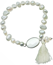 Zoetwater parel armband met edelsteen Pearl White Agate Tuft