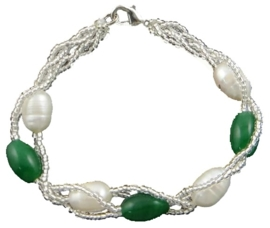 Zoetwater parel armband Twine Pearl Green Grass