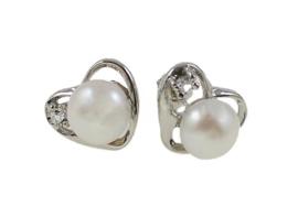 Zoetwater parel oorbellen Pearl Heart W