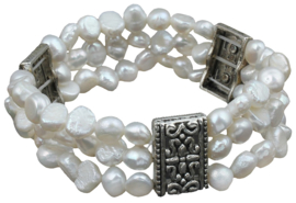 Zoetwater parel armband Three Row White Pearl