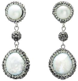 Zoetwater parel oorbellen Bright Pearl Dangling Coin