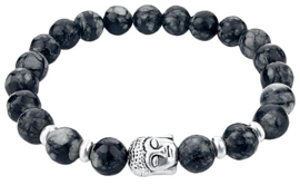 Edelstenen armband Buddha Snowflake Obsidian