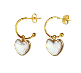 Zoetwater parel oorbellen Golden Hope 15 mm Heart White Pearl