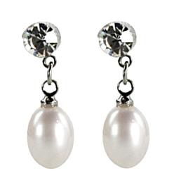 Zoetwater parel oorbellen Big Crystal Pearl White