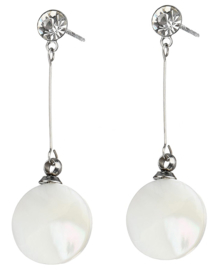 Parelmoeren oorbellen Bling Long White Shell Round
