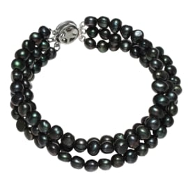Zoetwater parel armband Black Three Baroque Pearl