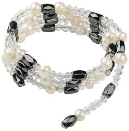 Zoetwaterparel en edelstenen armband Pearl Clear Crystal Magnetite Wrap