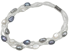Zoetwater parel armband Twine Pearl Grey