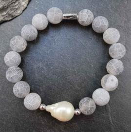 Edelstenen armband met witte parel Frozen Grey Agate White Pearl
