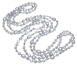 Zoetwater parelketting Long Seed Bead Grey
